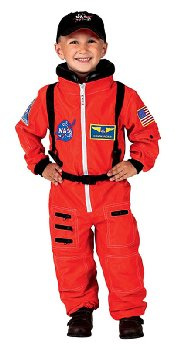 Jr. Astronaut Suit with Embroidered Cap - size 8/10 (Orange)
