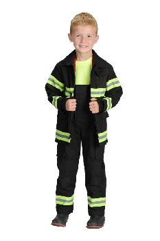 Junior Firefighter Suit - size 8/10 (Black)