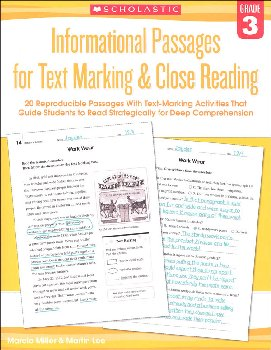 Informational Passages for Text Marking & Close Reading Grade 3
