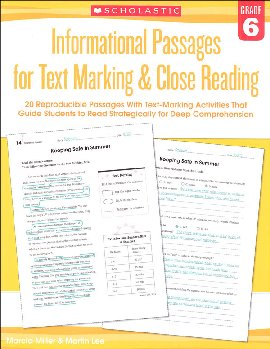 Informational Passages for Text Marking & Close Reading Grade 6