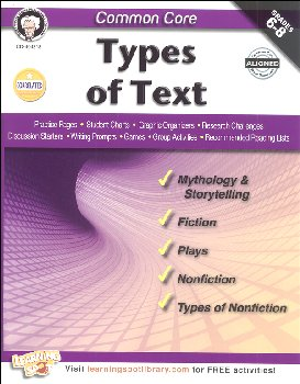 Common Core: Types of Text (Mark Twain Media Common Core Series)