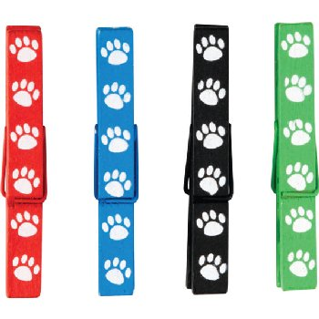 Magnetic Clothespins - Paw Prints (pack of 20)