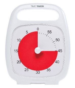 "Time Timer Plus White (5.5"" x 7"" clock with built-in handle)"