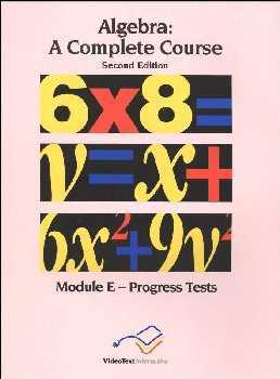 Algebra Module E Progress Tests
