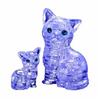 3D Crystal Puzzle - Cat & Kitten (purple)