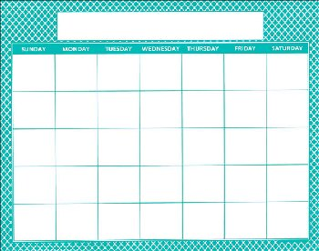 "Magnetic Calendar Moroccan Teal - Write-N-Wipe (22"" x 28"")"