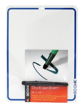 "White Dry-Erase Board with Vinyl Frame & Marker (9"" x 12"")"