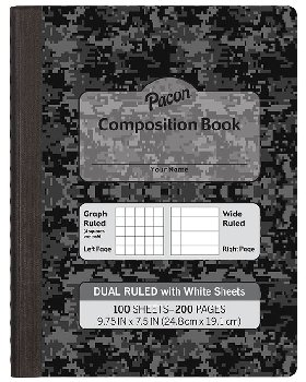 Dual Ruled Composition Book - Dark Gray Cover (Grid & Wide)