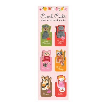 Cool Cats Magnetic Bookmarks (Set of 6)