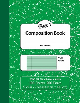 "Pacon Pastel Composition Book (9 3/4"" x 7 1/2"") 100 sheets - Green Cover"