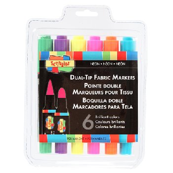 Scribbles Dual Tip Fabric Markers-Neon (6 pk)