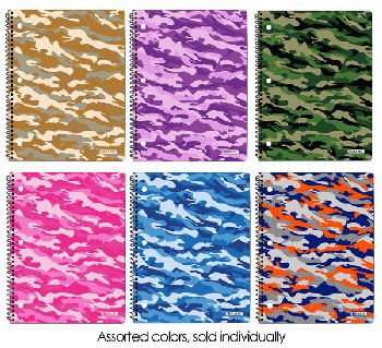 Spiral-Bound College Ruled 1-Subject Notebook - Camouflage 70 sheets