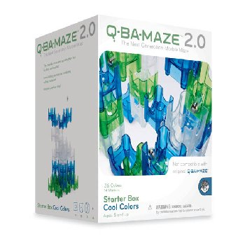 Q-Ba-Maze 50 Piece Starter Box Set - Cool Colors 2.0 (Blue, Green, Clear)