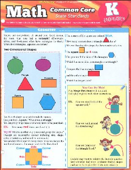 Math Common Core State Standards Kindergarten Quick Study