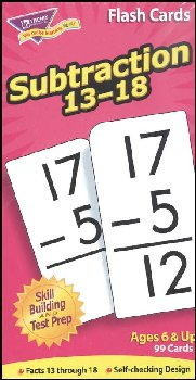 Subtraction Flash Cards (Facts 13-18)