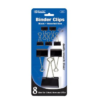 Binder Clips: Black - Assorted Sizes (8/Pack)
