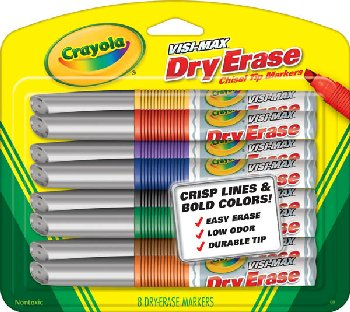 Crayola Visi-Max Dry Erase Markers Broad Line (8 count)