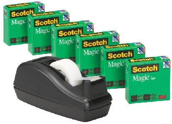 "Scotch Magic Tape Dispenser with 6  3/4"" x 1000"" Rolls"