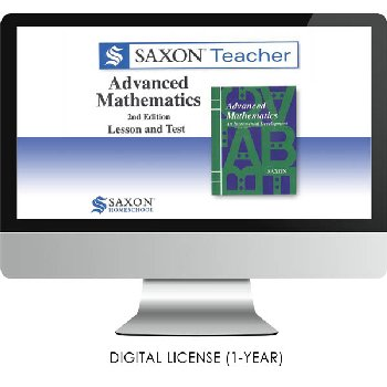 Saxon Math Homeschool Advanced Teacher Digital License 1 Year Digital 2nd Edition