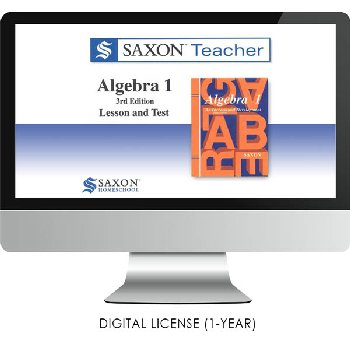 Saxon Math Homeschool Algebra 1 Teacher Digital License 1 Year Digital 3rd Edition
