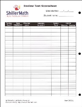 ShillerMath Review Test Scoresheet/Worksheet