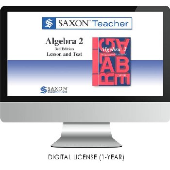 Saxon Math Homeschool Algebra 2 Teacher Digital License 1 Year Digital 3rd Edition
