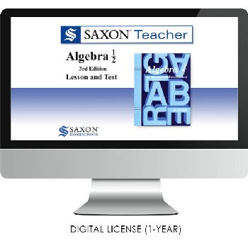 Saxon Math Homeschool Algebra Teacher Digital License 1 Year Digital Level 1/2 3rd Edition