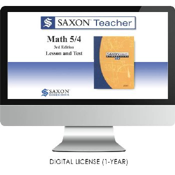 Saxon Math Homeschool Teacher Digital License 1 Year Digital Level 5/4 3rd Edition