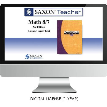 Saxon Math Homeschool Teacher Digital License 1 Year Digital Level 8/7 3rd Edition