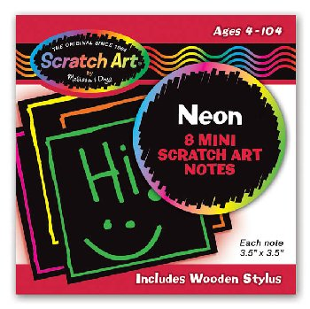Scratch Art Neon Mini Notes (eight 3.5 x3.5 sheets)