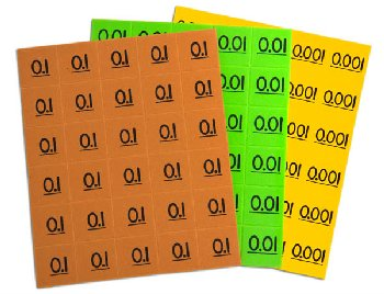 Place Value Decimal Tiles - 90 tiles (30 each 3 values)