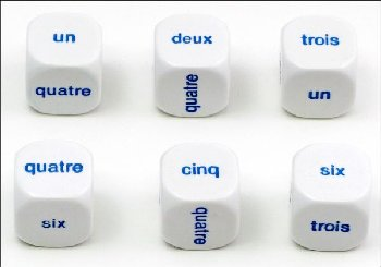 French Dice Numbers 1 to 6