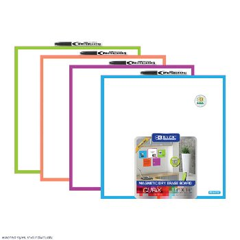 "Cubix Magnetic Dry Erase Board 14"" x 14"" (assorted color)"