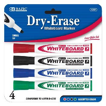 Dry Erase Whiteboard Markers Chisel Tip (4/Pack) assorted colors