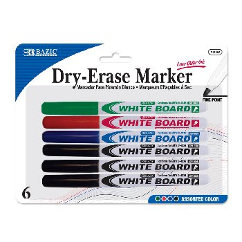 Dry Erase Whiteboard Markers Fine Point (6/Pack) assorted colors