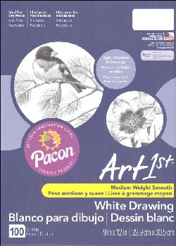 "Art1st Medium Weight Smooth White Drawing Paper- 9"" x 12"" - 100 Sheets"
