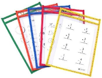"Reusable Dry Erase Pockets - 6"" x 9"" Single, Assorted Primary Color"