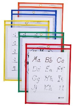"Reusable Dry Erase Pockets - 9"" x 12"" Single, Assorted Color"