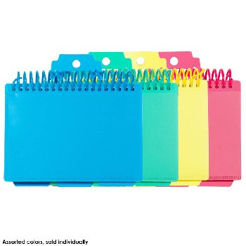 "Spiral Bound Index Card Notebook - 3"" x 5"" Tropical Tones Assorted Colors"