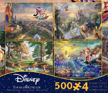 Aladdin, Beauty & the Beast, Little Mermaid, & Winnie the Pooh 4-in-1, 500 Piece Puzzles (Thomas Kinkade Disney Collecti