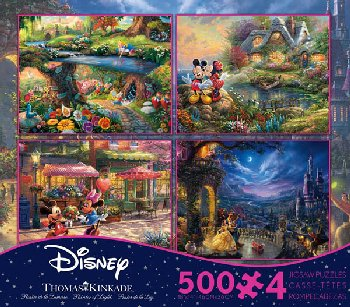 Alice in Wonderland, Beauty & the Beast, & Mickey & Minnie Mouse 4-in-1, 500 Piece Puzzles (Thomas Kinkade Disney Collec