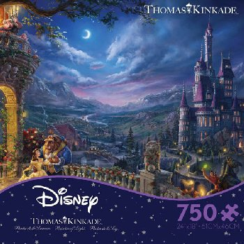 Beauty and the Beast Dancing in the Moonlight Puzzle (Thomas Kinkade Disney Collection) 750 Piece