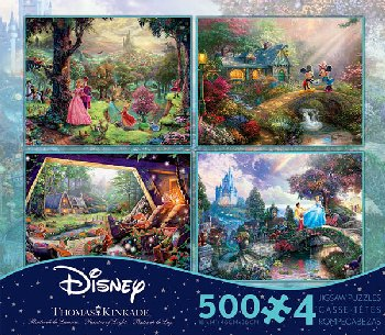 Cinderella, Mickey Mouse, Sleeping Beauty,& Snow White 4-in-1, 500 Piece Puzzles (Thomas Kinkade Disney Collection)