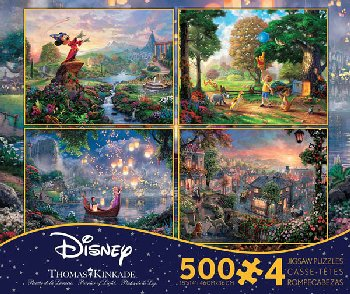 Fantasia, Lady & the Tramp, Tangled, & Winnie the Pooh 4-in-1, 500 Piece Puzzles (Thomas Kinkade Disney Collection)
