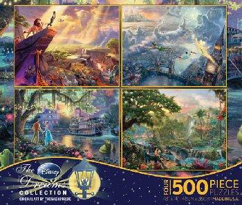 Jungle Book, Lion King, Princess & the Frog, & Tinker Bell & Peter Pan 4-in-1, 500 Piece Puzzles (Thomas Kinkade Disney
