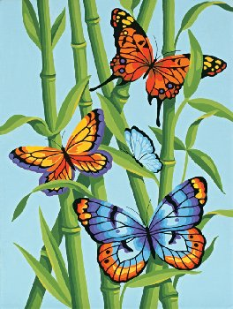 Butterflies and Bamboo Paint-By-Number (Intermediate)