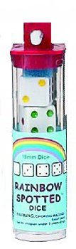 Rainbow Spotted Dice (5 in tube)