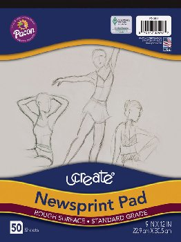 "Art1st Newsprint Pads (9"" x 12"") - 50 Sheets"
