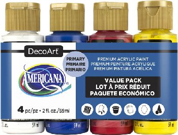 Americana Acrylic Paint 4 pack (2 oz) - Primary