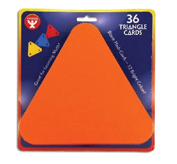 "Triangle Blank FlashCards 5.5"" Assorted Colors package of 36"